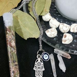 Protection evil eye  necklace + 7 day candle herbs